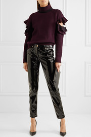 Versace Cutout ribbed wool-blend turtleneck sweater