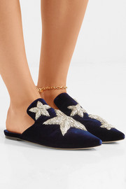 Stelle embroidered velvet slippers