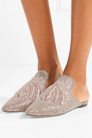 Ragno embroidered metallic woven slippers