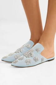 Ragno embroidered faille slippers