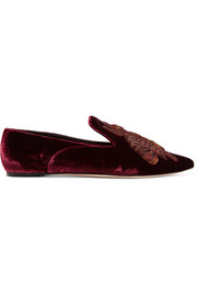 Ragno embroidered velvet loafers