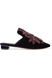 Curcuma embroidered velvet slippers