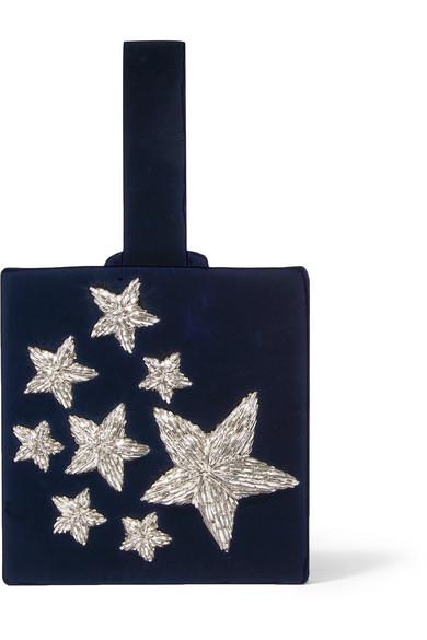 Sanayi313 - Stelle Embroidered Velvet Clutch - Navy