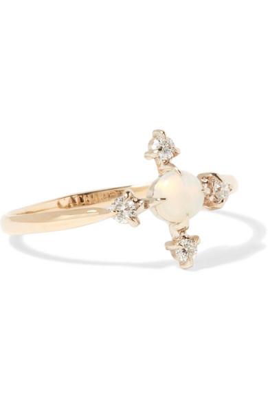 CATBIRD MOON FLOWER 14-KARAT GOLD, DIAMOND AND OPAL RING