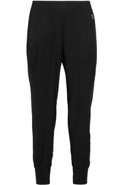 Perforated stretch-jersey track pants