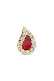 Blood Drop enameled 14-karat gold diamond earring