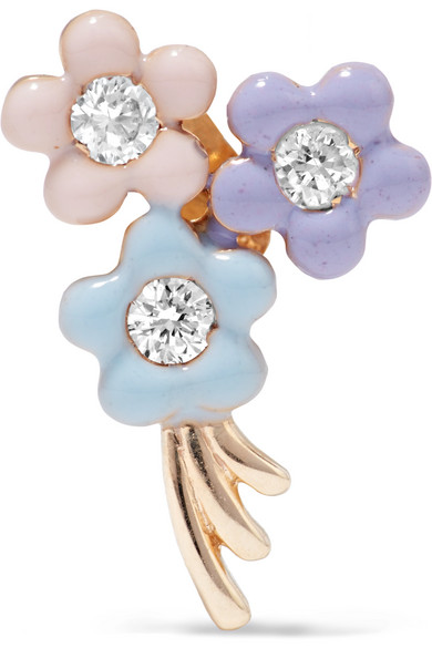 Alison Lou - Daisy Bouquet Enameled 14-karat Gold Diamond Earring - one size