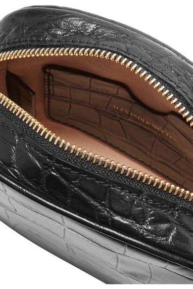 Alexander Mcqueen Shoulder Croc-effect leather camera bag
