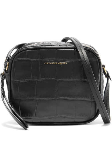 Mini Black Crocodile-Effect Cross-Body Bag