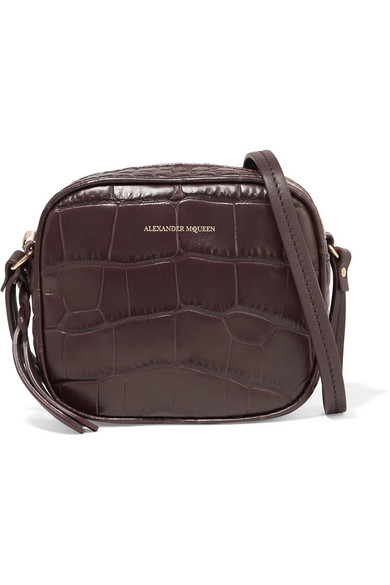 Croc-effect Leather Camera Bag - Black Alexander McQueen QnnoijnYH