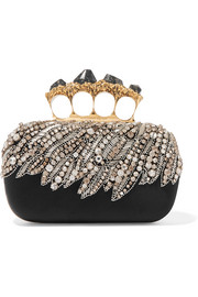 Alexander McQueen Knuckle embellished satin clutch