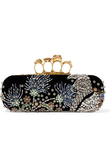 Alexander McQueen - Knuckle Embellished Velvet Clutch - Black