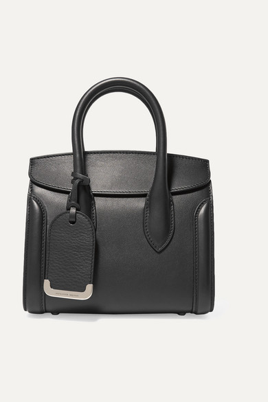Heroine Small Leather Tote, Black