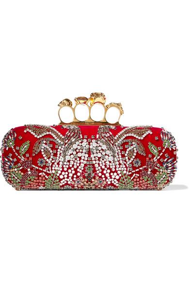 Alexander McQueen - Knuckle Embellished Velvet Clutch - Red