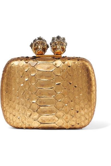 Alexander McQueen - Crystal-embellished Metallic Python Clutch - Gold