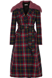 Faux shearling-trimmed checked wool-tweed coat