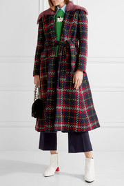 Miu Miu Faux shearling-trimmed tartan wool-tweed coat
