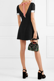 Miu Miu Crepe-trimmed stretch-twill mini dress