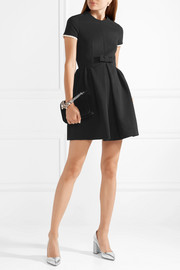 Bow-embellished faille mini dress