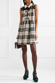 Bow-embellished tartan wool mini dress