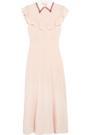 Miu Miu Ruffled silk crepe de chine midi dress
