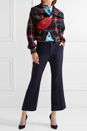 Miu Miu Cropped tartan wool-tweed bomber jacket