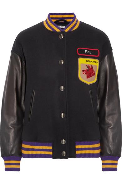 Miu Miu - Leather-paneled Appliquéd Wool-felt Bomber Jacket - Midnight blue