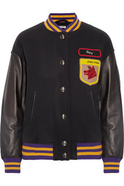 Leather-paneled appliquéd wool-felt bomber jacket