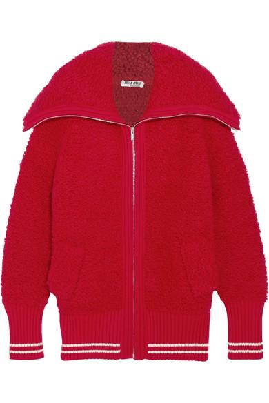 Miu Miu - Oversized Bouclé-knit Cardigan - Red
