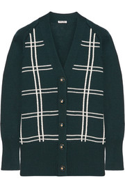 Miu Miu Oversized checked wool cardigan