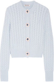 Miu Miu Embellished cable-knit cashmere cardigan