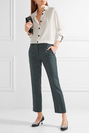 Miu Miu Cropped checked wool flared pants