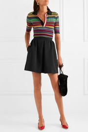 Miu Miu Pleated ribbed stretch-jersey mini skirt