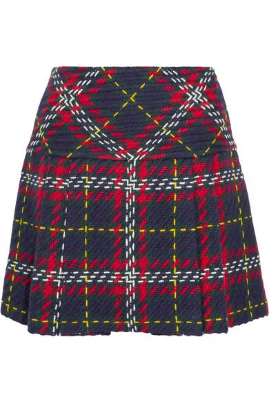 Miu Miu - Pleated Tartan Wool-tweed Mini Skirt - Navy