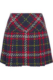 Miu Miu Pleated tartan wool-tweed mini skirt