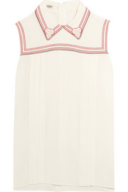 Miu Miu Embroidered crepe top