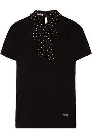 Miu Miu Polka-dot silk-trimmed cotton-jersey T-shirt