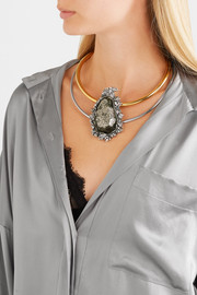 Gold and silver-tone stone choker