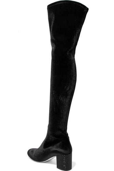 Discount Manchester Knock Off Crystal-embellished Velvet Over-the-knee Boots - Black Rene Caovilla Footaction Sale Online Clearance Supply qdqgPDG