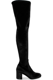 René Caovilla Crystal-embellished velvet over-the-knee boots