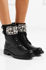 René Caovilla Embellished leather ankle boots
