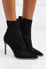 René Caovilla Faux pearl-embellished suede ankle boots