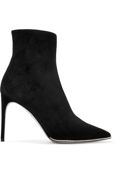 René Caovilla - Faux Pearl-embellished Suede Ankle Boots - Black