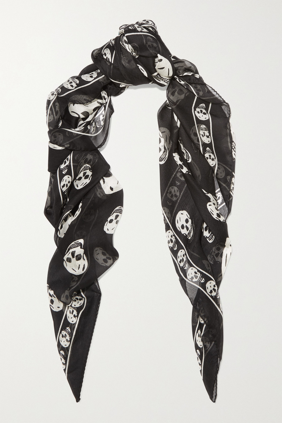 Alexander McQueen Foulard en mousseline de soie imprimée