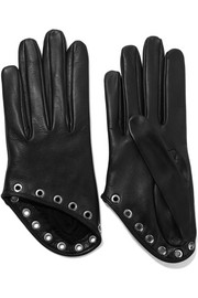 Eyelet-embellished leather gloves