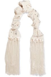 Alexander McQueen Fringed printed silk crepe de chine scarf