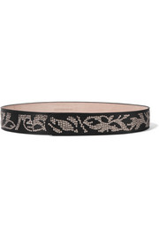 Sequined leather belt