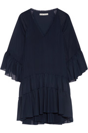 Zoey tiered crepon and chiffon tunic