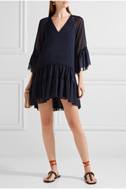 Alice + Olivia Zoey tiered crepon and chiffon tunic