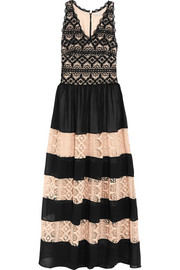 Alice + Olivia Tilly paneled chiffon and cotton-lace maxi dress